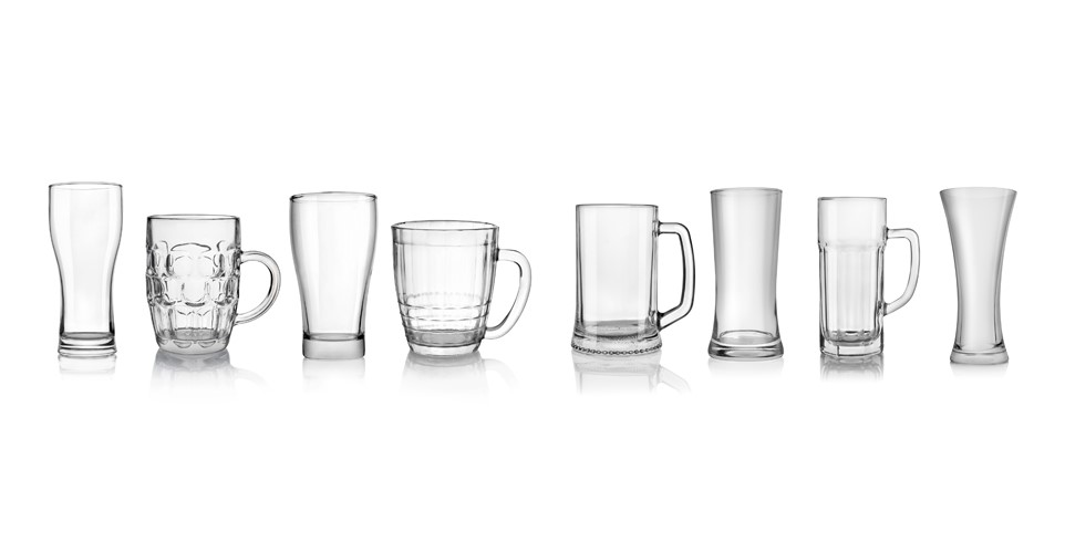 beer glasses in a row